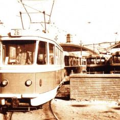Carte postala ilustrata Depoul Panduri, Bucuresti, iesirea tramvaielor - Carte Postala Muntenia dupa 1918