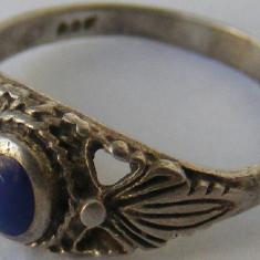 Inel vechi din argint cu piatra albastra (4) - de colectie