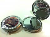 "Oglinda dubla cu carcasa metalica ""Las Vegas"" / Pentru poseta / Made SUA"