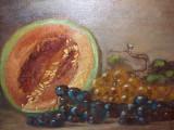 Natura statica cu fructe tablou vechi  in ulei pe panza semnat, Realism
