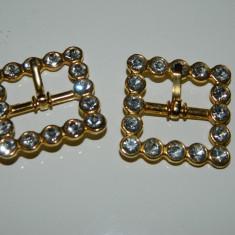 Set doua accesorii stralucitoare, catarame curea pietre stralucitoare, aurite