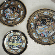 Suvenir CRETA - set de 3 farfurii DECO (portelan placat cu aur 24K), Decorative