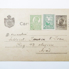 CARTE POSTALA ROMANIA adresata unui ofiter, circulata in 1920, cu timbre **