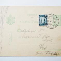 CARTE POSTALA ROMANIA circulata in 1931, cu timbrul aviatiei **