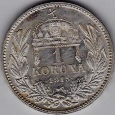 5) Ungaria Austria1 KORONA/KRONE/COROANA argint 1915 UNC,patina frumoasa