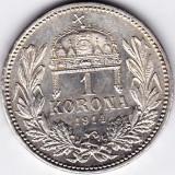 2) Ungaria Austria1 KORONA/KRONE/COROANA argint 1914 UNC, patina frumoasa