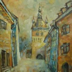 Tablou pictat in ulei pe panza cetatea Sighisoara semnat Emilia Ardelean UNICAT!! - Pictor strain, Peisaje, Realism