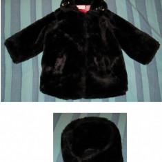 Palton geaca haina iarna blana fete 2 ani petrecere, Culoare: Negru