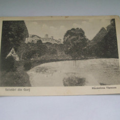 C.P SALUTARI DIN GORJ MANASTIREA TISMANA-1926 - Carti Postale Romania dupa 1918, Circulata