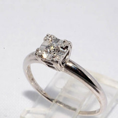 Superb inel aur alb 14K cu diamant natural 0, 10CT, stil antic, 57 - 67