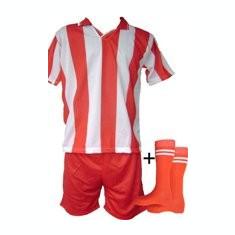 Echipamente de fotbal rosu-alb copii si seniori - Set echipament fotbal