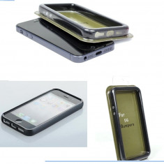 Bumper negru plastic iphone 5 5G +  folie protectie ecran