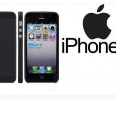 Husa neagra silicon rigid  iphone 5 5G +  folie protectie
