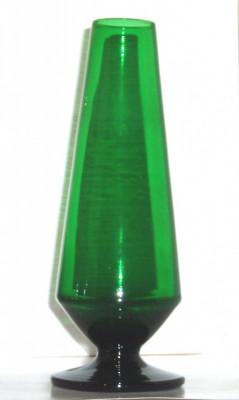 Vaza goblet semicristal verde smarald hand blown - design Monica Bratt '50 - Reijmyre Suedia foto