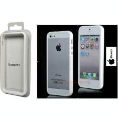 Bumper alb plastic iphone 5 5G + folie protectie ecran