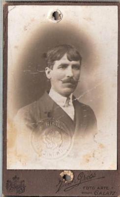 New FOTO CABINET18-Barbat cu mustata, Giurgea Lefter-Galatz-Galati -sf. de sec.XIX,inceput de secol XX-dimensiuni 10,4X6,3cm.-starea care se vede foto