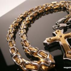 Lant inox cu cruciulita placat cu aur de 18k (cod: 73 ) - Set bijuterii placate cu aur