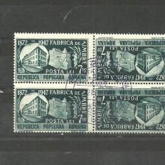 Romania 1948-FABRICA TIMBRE 7.5 lei BLOC 2 PERECHI TETE-BECHE, PRIMA ZI, M65 - Timbre Romania, Stampilat