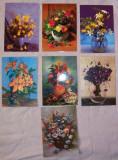 """Set 7 VEDERI tematica """"Vaze cu Flori"""", necirculate, Necirculata, Fotografie"""