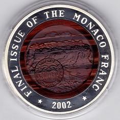 Monaco, 2002 ultimul an de batere a francului, 10 WON Corea, argint 999% 34, 42 gr