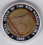 San Marino,2002 ultimul an de batere a lirei,10 WON Corea,argint 999% 33,82 gr