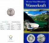 Austria 5 EURO 2003 argint 8 gr.800%,UNC,Wasserkraft,in folder cu certificat
