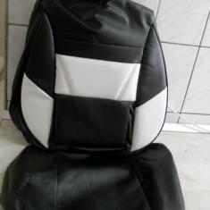 Huse auto imitatie piele de culoare alb cu negru - Husa scaun auto