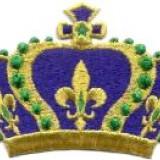 Emblema brodata adeziva coroana regala cu fir metalic aurit.