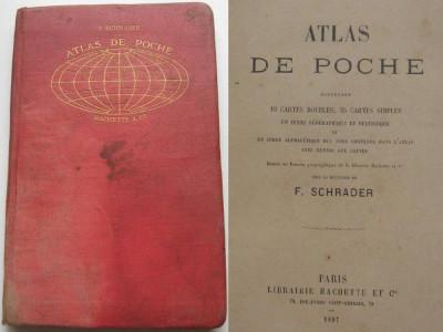 Atlas cu harti color,tari,continente,imperii coloniale,Libraria Hachette,Paris,1897 foto