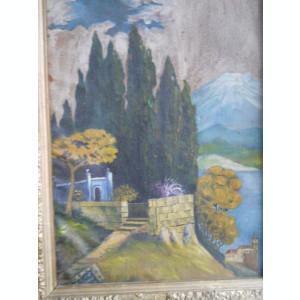 Pictura ulei: Peisaj Elvetia ( Pictor semnatura indescifrabila) 67cm / 50cm - (rama veche)