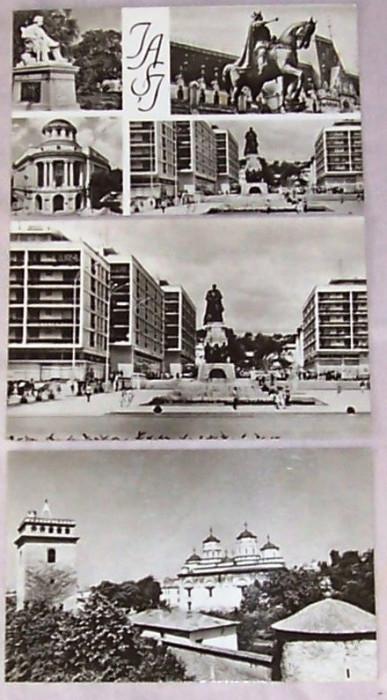 SET 3 carti postale IASI, alb-negru, RPR, necirculatadar inscriptionata cu data cumpararii 1967,