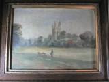 TABLOU VECHI - ULEI PE PANZA LIPITA PE LEMN - SEMNAT CU MONOGRAM K.M.P.-  1908
