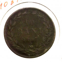 A.F. ROMANIA 10 BANI 1867 HEATON ** - Moneda Romania
