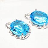 accesorii pt cercei aur alb 14K cu blue topaz naturale 6CT, 2.47 gr f ieftini