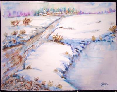 Acuarela Peisaj iarna semnat Liviu Anastase foto