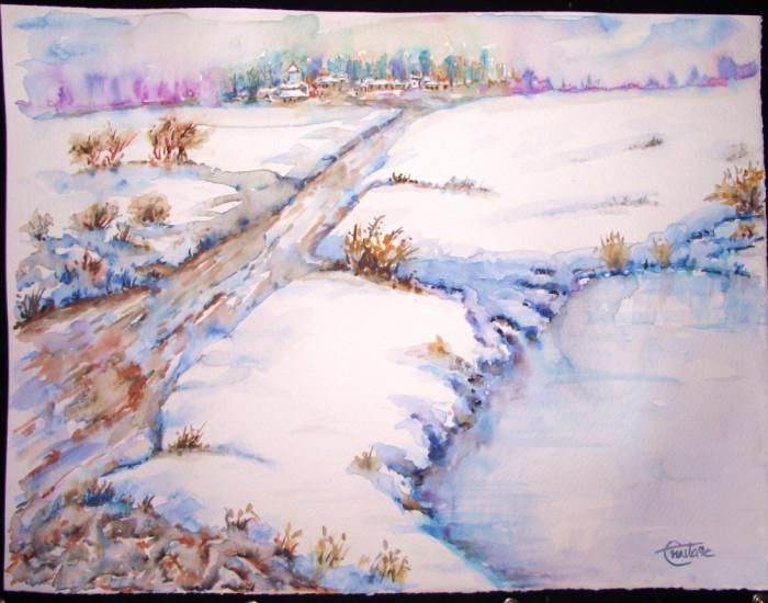 Acuarela Peisaj iarna semnat Liviu Anastase