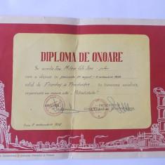 DIPLOMA DE ONOARE  VECHE ANUL 1959 , ACORDATA CU OCAZIA  ZILEI PETROLISTULUI  .