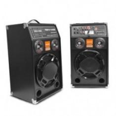 SET 2 BOXE ACTIVE,AMPLIFICATE CU USB SI STICK,CARD,efecte voce,DJ,KARAOKE,ACASA!+BONUS SET 2 MICROFOANE !