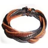 Bratara din piele maro banda si snururi negre, Unisex