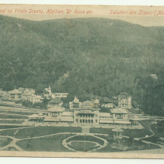 Slanic Moldova : Casino Regal cu vilele Scurtu, Holban, dr.Russ etc., U.P.U., circulata 1903, timbru