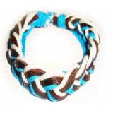 Bratara din piele maro cu snururi albe si albastre, Unisex