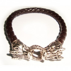 Bratara maro dragon din piele eco impletita, Unisex
