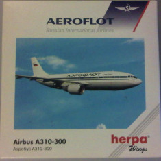 Macheta Aeroflot Avion Airbus A310-300 / Herpa - 1:500 / F252 - Macheta Aeromodel