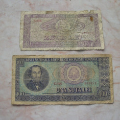 Lot 2 bancnote diferite 10 lei + 100 lei 1966 - Bancnota romaneasca
