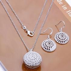 Bijuterii din Argint: Set Lantisor si Cercei Argint 925 Sun Italian Style - Set bijuterii argint