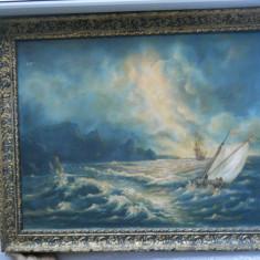Pictura ulei: Peisaj marin semnat de I. Radu 65 cm/ 50cm (cu rama)