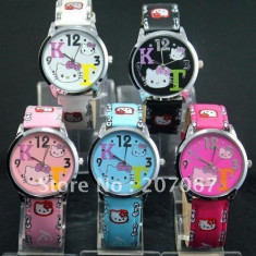 CEAS HELLO KITTY FASHION - Ceas dama Hello Kitty, Quartz, Piele - imitatie, Analog, Nou