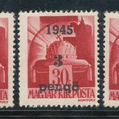 1945 ROMANIA emisiunea locala Oradea I lot 3 timbre 3P/30f tipuri I & II & III