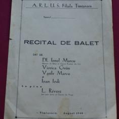 Pliant '' RECITAL DE BALET '' timisoara august 1946 - Pliant Meniu Reclama tiparita