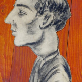 portret de barbat - creion pe carton piesa deosebita si veche !!!